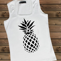 Women's Tank Pineapple on a U Ladies Pineapple Tank,Screen Printing Tank,Women's Tank,White Tank,Size S, M, L