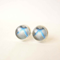 Xbox 360 Icon Stud Earrings - Glass Cabochons Post Earrings - Glass Dome Stud - Grey and Blue