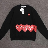 Best Deal Online Women Men's CDG Play Fashion Long Sleeve T-Shirt Black