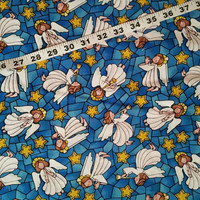 Christmas Fabric with angels stars stained glass Holiday cotton quilt print quilting sewing material to sew by the yard craft project
