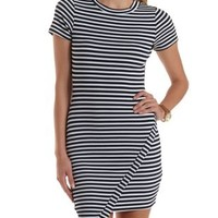 Navy Combo Striped Asymmetrical Bodycon Dress by Charlotte Russe