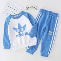 Adidas Girls Boys Children Baby Toddler Kids Child Fashion Casual Top Sweater Pullover Pants Trousers Two Piece Set