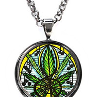 Music and Marijuana Gunmetal Pendant with Chain Necklace
