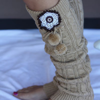 Women's Legwarmers - Boho, Cable Knitted,  Caramel Brown ,Pom Pom, Boot Cover, Socks, Crochet, Lace Flower, Ivory Lace Trim, Christmas Gift,