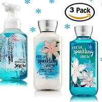 Fresh Sparkling Snow - 3 Piece Bath and Body Works Gift Set - Fresh Sparkling Snow Lotion + Fresh Sparkling Snow Gentle Foaming Hand Soap + Fresh Sparkling Snow Shower Gel