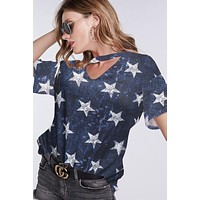 Choker Neck Stars Top - Navy