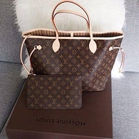 LV Louis Vuitton Neverfull GM Shopping Bag Handbag Shoulder Bag Wallet Two-Piece Set