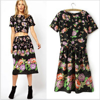 Black Floral Print Short Sleeve Crop Tank Shirt With Paired Midi Skirt