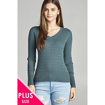 Plus size long sleeve v-neck cable knit classic sweater