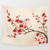 Oriental style painting, plum blossom in spring Wall Tapestry by Ori Artiste | Society6