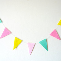 Pastel Flag Triangle Garland - Felt Bunting, Felt Garland, bright home decor, pink, mint, yellow