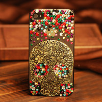 Retro Vintage Cool Skull Rhinestone Handmade Case For Iphone 4/4s/5