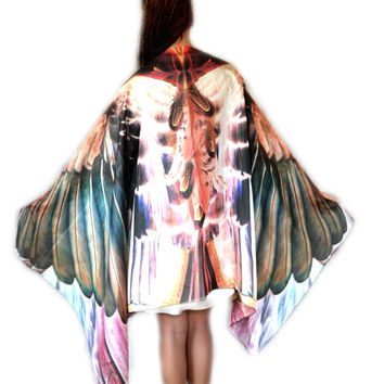 STARLING • Bird Wing Scarf • Sheer Silk Bird Wing Shawl • Handmade Boho Chic Bird Medicine Totem Spirit Animal Scarf • Chic Gift For Wife