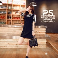 Stripe Short Sleeve Black Strap Mini Dress