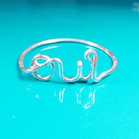 Sterling Silver OUI Ring, Sterling Silver Wire OUI Ring, Heart Ring, Dainty Ring, Simple Ring, Best Friend Ring, Valentine's Day Gift