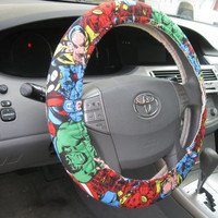 The Avengers * Steering Wheel Cover *  Captain America * Iron Man * Thor * Hulk * Spiderman