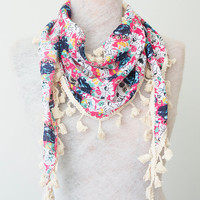 Floral Scarf Winter Scarf Lace Fringe Thick Scarf Cotton Scarf Fringe Boho Scarf Gypsy Fashion Accessory Women Accessory Christmas Gift