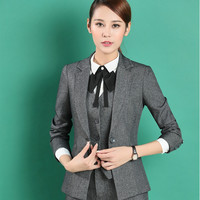 2017 fashion S-3XL full sleeve female formal suits office uniform style grey pants trousers blazer set business work suits women