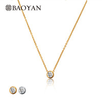 Stainless Steel Silver Gold Color Pendant Choker Necklace For Women White Crystal Fashion Jewelry Women Necklace N5