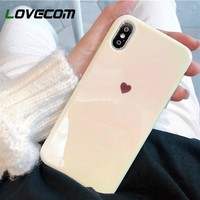 LOVECOM Blu-Ray Phone Case For iPhone XR XS Max X 6 6S 7 8 Plus Fashion Heart Soft IMD Phone Back Cover Cases High Quality