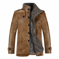 New 2017 PU Leather Jacket Men Fashion Leather Turn Down Collar Jackets Coat Slim Fit Men Leather Jackets Warm Winter Plus Size