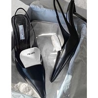 PRADA new product triangle logo stitching color ladies high heel sandals slippers Shoes
