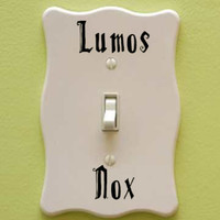 Harry Potter Inspired Lumos Nox Vinyl Decal Sticker DECALS ONLY for light switch