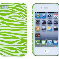 Neon Green Zebra Embossed Hard Case for Apple iPhone 4, 4S (AT&T, Verizon, Sprint) - Includes DandyCase Keychain Screen Cleaner [Retail Packaging by DandyCase]