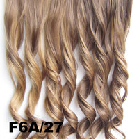 Bath&Beauty Clip in synthetic hair extension hairpieces 5 clips in on wavy slice curly hairpiece GS-888 F6A/27,Hair Care,fashion COSPLAY ombre 1PCS