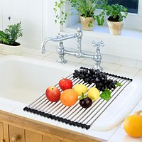 Kitchen Roll Up Sink Drying Rack Folding Draining