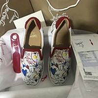 Cl Christian Louboutin Sailor Boat Flat Version White Leather 18s Shoes 1180180wh43 Sneakers