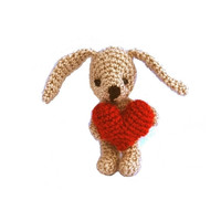 bunny, Easter bunny with red heart, crocheted miniature rabbit, amigurumi tiny bunny, gift for Easter little bunny doll home decor grey red