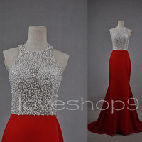 Long Red Beaded Prom Dresses See Through Prom Dress Formal Party Evening Dresses Homecoming Dresses