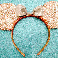 Custom Minnie Mouse Rhinestone & Pearl Ears