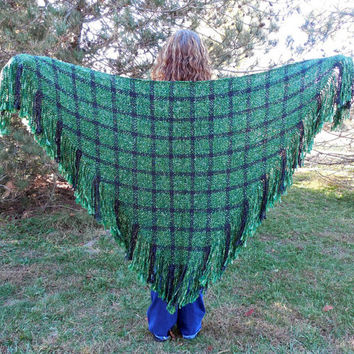 Handwoven Shawl Large Triangle Shawl Wrap Hand Woven Green and Black Celtic Plaid