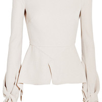 Roland Mouret - Wicklow knotted textured-crepe peplum top