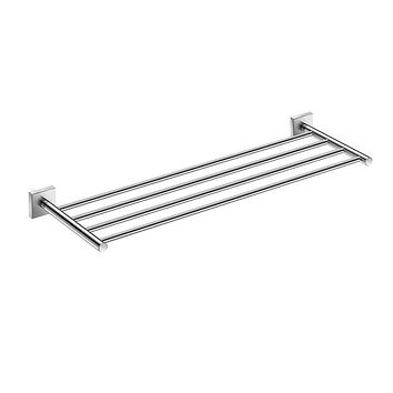 DAX-GDC160168 / DAX MILANO TOWEL RACK WITH SHELF, WALL MOUNT, BRASS BODY, BRUSHED NICKEL OR CHROME FINISH, 23-5/8 X 7-7/8 X 1-7/9 INCHES