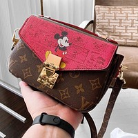 LV Mickey mouse Monogram Reverse canvas cut into high-quality discolored leather
