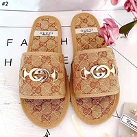 GUCCI 2019 new women's wild rhombic buckle flat with open toe slippers #4