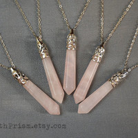 Rose Quartz Light Pink Crystal Point Pendulum Wand Pendant Silver Necklace Leather Cord