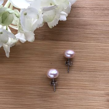 Pink freshwater pearls stud earrings 11 mm