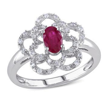 1/7 CT  Diamond TW And 5/8 CT TGW Ruby Fashion Ring  14k White Gold GH I1;I2