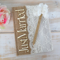Wedding Guest Book Lace Burlap GUestbook Advice Book Wedding Alternative Guest Book Vow Books Note Book Wishes Book