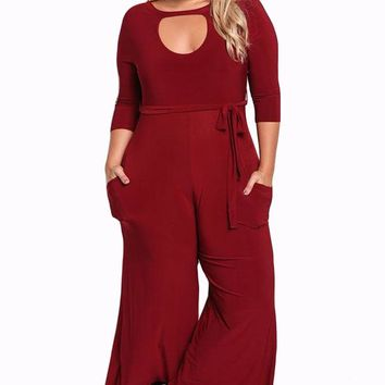 Autumn Plus Size Jumpsuit 3/4 Sleeve Womens Cut Out Wide Legged pants red white yellow
