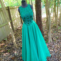 SALE vintage emerald green beaded ball gown - Alyce Designs cutout back formal evening dress