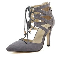 LUCLUC Grey Suede High-heeled Lace Up Shoes - LUCLUC
