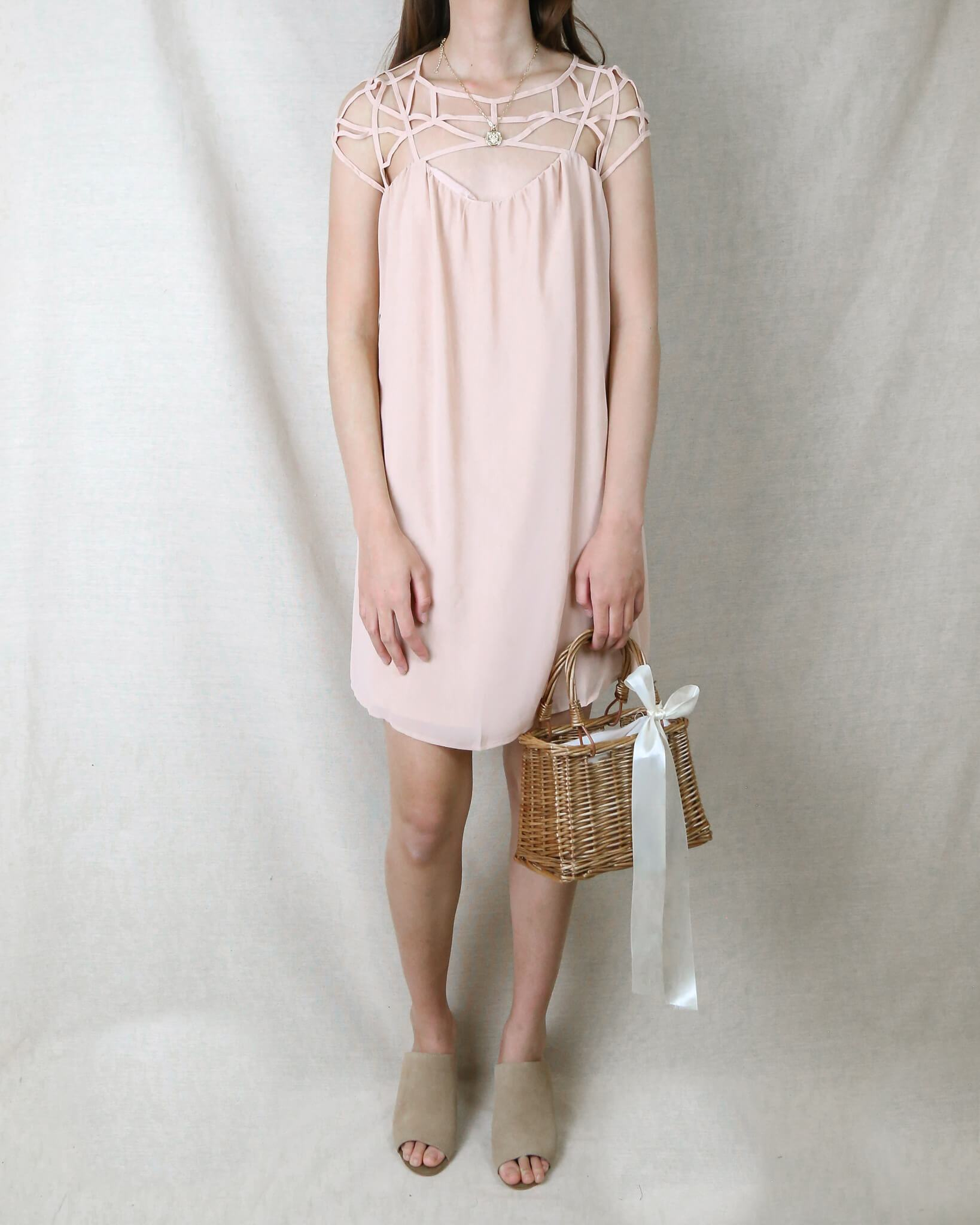 Image of Final Sale - Caged Up Flowy Chiffon Dress in Almond