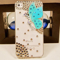 Crystal Butterfly iPhone 5 Case, Transparent iPhone 4 Case, iPhone 4s Case,iPhone Cover, iPhone 4/4s Skin