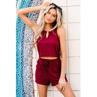 Slow Mornings Ribbed V-Cut Cropped Tank Top (Wine)