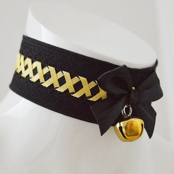 Kitten play collar - Aureolum - black and golden yellow gothic choker with lacing - cosplay larp con - or lolita neko pet petplay